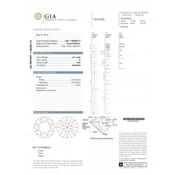 GIA Certified 1.01 cts D VS2 Round Brilliant Solitaire Diamond B-2-B