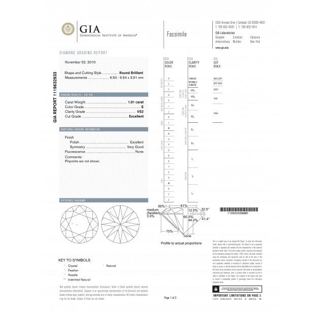 GIA Certified 1.01 cts E VS2 Round Brilliant Solitaire Diamond B-2-B
