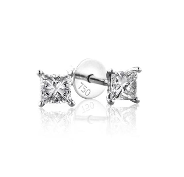 GIA Certified 0.70 cts (x2) F VS2 Princess Cut Diamond