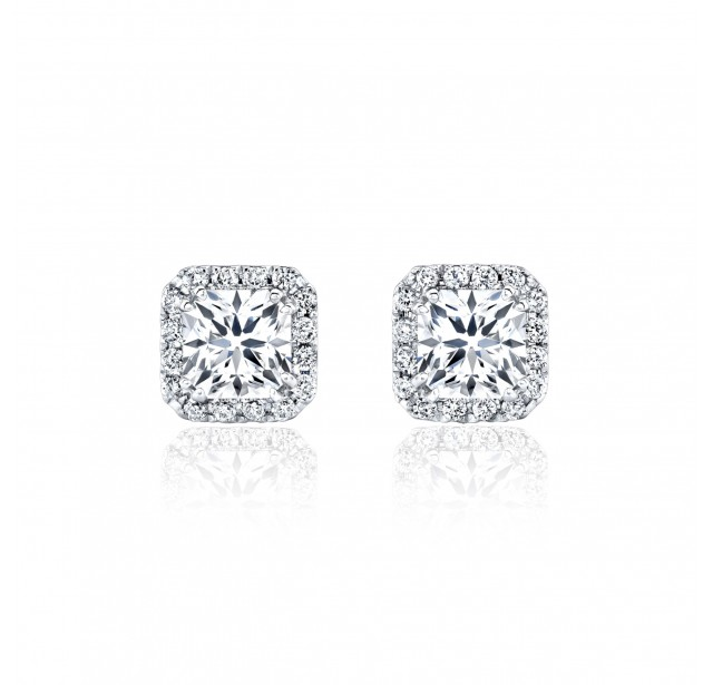 GIA Glamour 0.50cts (x2) F VS2 Princess Cut Diamond