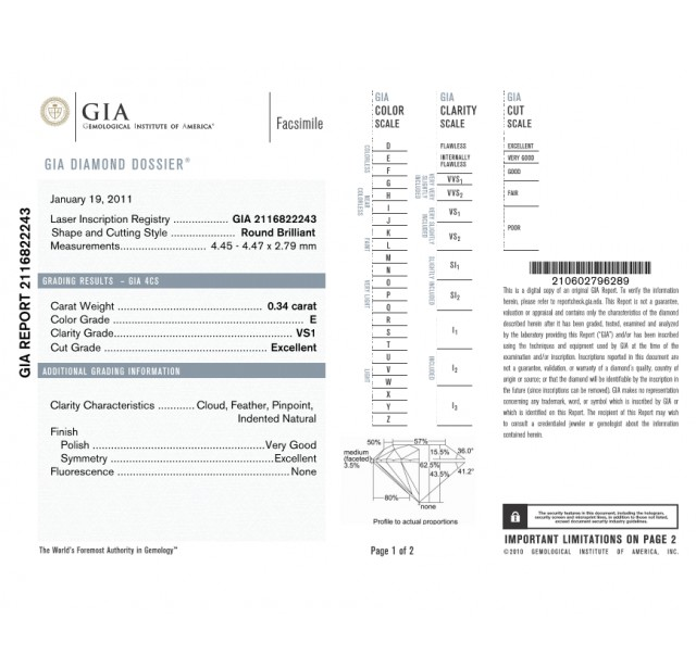 GIA Certified 0.34cts (x2) E VS1 Round Brilliant Diamond