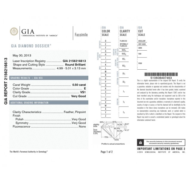 GIA Certified 0.50 cts (x2) E VS1 Round Brilliant Diamonds