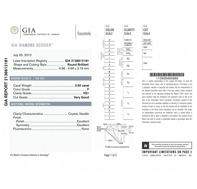 GIA Certified 0.50 cts (x2) F VS1 Round Brilliant Diamonds
