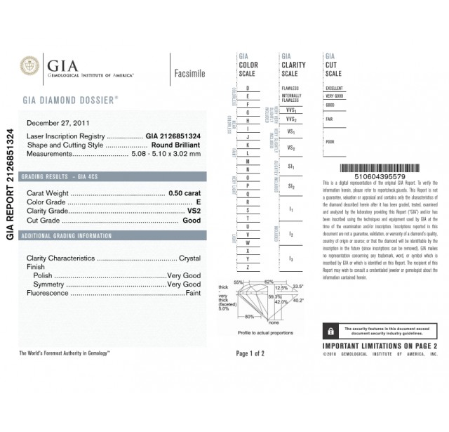 GIA Certified 0.50 cts (x2) E VS1 & VS2 Round Brilliant Diamonds