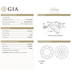 GIA Certified 1.31 cts & 1.28 cts  E VVS2 Round Brilliant Diamonds