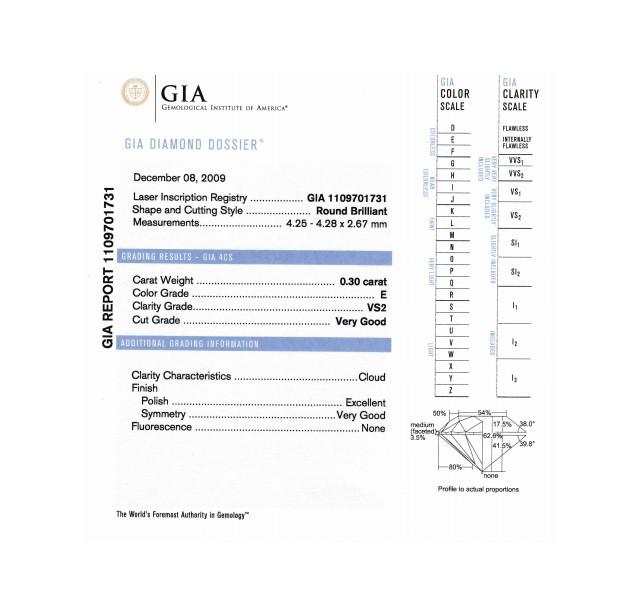 GIA Certified 0.30 cts (x2) E VS2 Round Brilliant Diamond