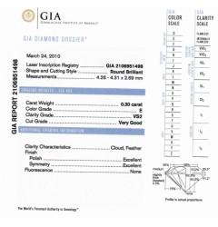 GIA Certified 0.30 cts E VS2 Round Brilliant Diamond
